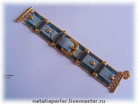 Джинсовый браслет бисер