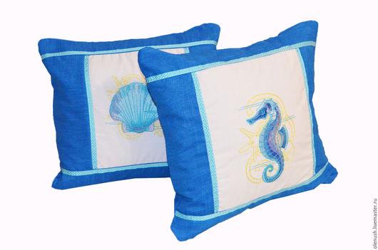 Текстиль, ковры ручной работы. Ярмарка Мастеров - ручная работа. Купить Две декоративные подушки в морском стиле. Handmade. Подушка
