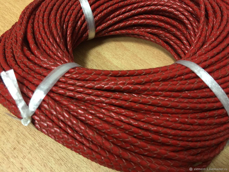 Шнур кожаный плетёный ,3 мм, красный, Шнуры, Обнинск,  Фото №1