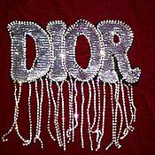 Материалы для творчества handmade. Livemaster - original item Embroidery, applique with sequins and rhinestones. Dior. Handmade.