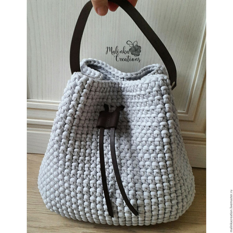 Вязание сумки из трикотажной пряжи крючком: мастер-класс ...