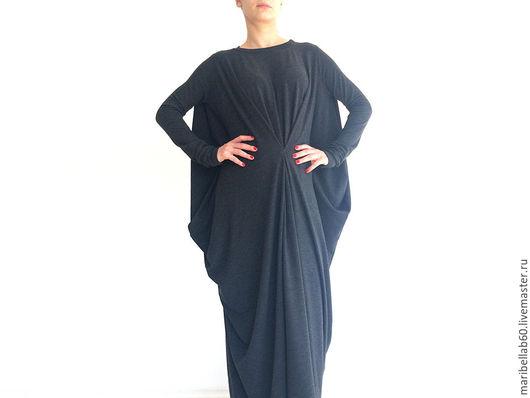 Платья ручной работы. Ярмарка Мастеров - ручная работа. Купить SUNDAY FALL драпированные платья макси. Handmade. Темно-серый
