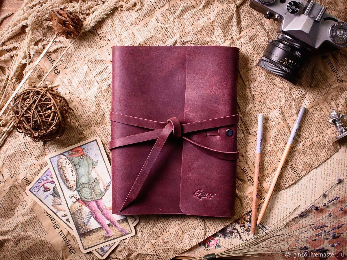Блокнот кожаный на кольцах с прошитым карманом бордовый, Блокноты, Тула,  Фото №1