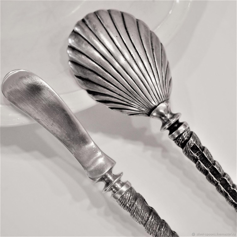 Икорная пара РАКУШКА (ложка для икры и нож для масла), Подарки, Жуковский,  Фото №1