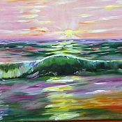 Картины и панно handmade. Livemaster - original item Sea. Wave at sunset. Handmade.