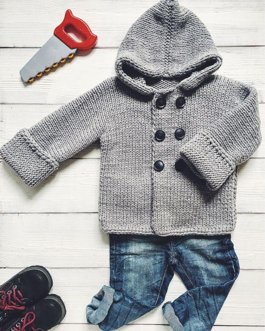 Одежда для мальчиков, ручной работы. Ярмарка Мастеров - ручная работа. Купить Вязаное пальто-кардиган. Handmade. Вязаное пальто, серый
