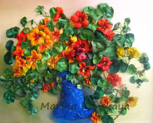 Картины цветов ручной работы. Ярмарка Мастеров - ручная работа. Купить Солнечная настурция. Handmade. Настурция, подарок на любой случай