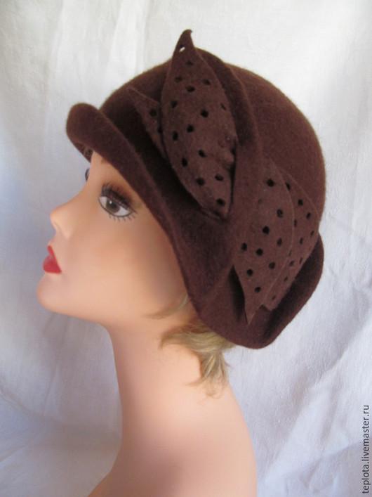 """Шляпы ручной работы. Ярмарка Мастеров - ручная работа. Купить валяная шляпка """"Chocolat"""". Handmade. Коричневый, шляпка из шерсти, клош"""