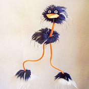 Мягкие игрушки ручной работы. Ярмарка Мастеров - ручная работа Развивающая  игрушка страус-марионетка Синий туман  на веревочках. Handmade.
