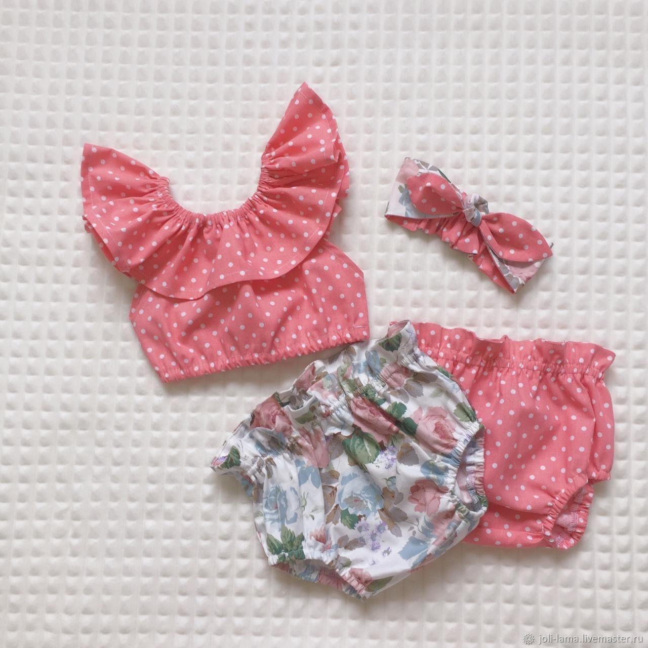 Комплект для девочки: топ, трусики, повязка, Комплекты одежды для малышей, Москва,  Фото №1