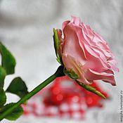 Цветы и флористика ручной работы. Ярмарка Мастеров - ручная работа Розовая Роза из Холодного Фарфора. Handmade.
