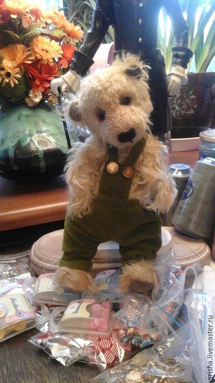 Одежда для кукол ручной работы. Ярмарка Мастеров - ручная работа. Купить комбинезон  из вельвета для тедди. Handmade. Оливковый, платье для игрушки