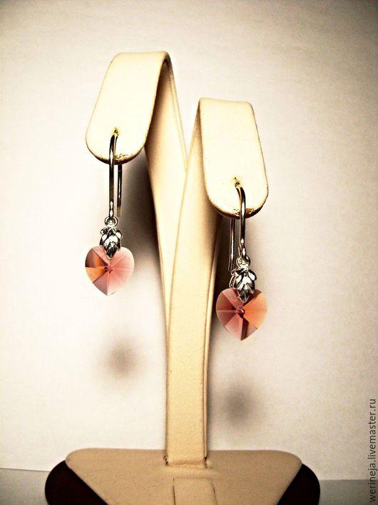 """Серьги ручной работы. Ярмарка Мастеров - ручная работа. Купить Серебряные серьги """"Сердце"""". Handmade. Коралловый, серьги с подвесками"""