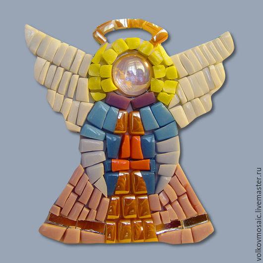Новый год 2017 ручной работы. Ярмарка Мастеров - ручная работа. Купить Смальта-пазл «магнит мозаика Ангел». Handmade. Розовый