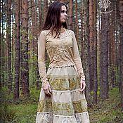 """Одежда ручной работы. Ярмарка Мастеров - ручная работа Комплект   """"Сны деревьев"""" юбка с оборками и кружевная блузка, бохо шик. Handmade."""