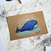 Открытки ручной работы. Ярмарка Мастеров - ручная работа Почтовая открытка - синий кит. Handmade.