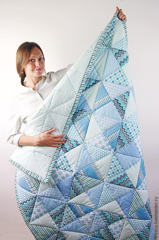 Пледы и одеяла ручной работы. Ярмарка Мастеров - ручная работа. Купить Голубое детское одеяло. Handmade. Голубой, одеяло пэчворк