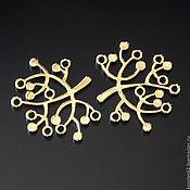 Коннекторы ручной работы. Ярмарка Мастеров - ручная работа Коннектор позолоченный Яблонька. Handmade.
