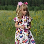 Одежда детская handmade. Livemaster - original item Pink Butterfly girl dress made of American cotton. Handmade.