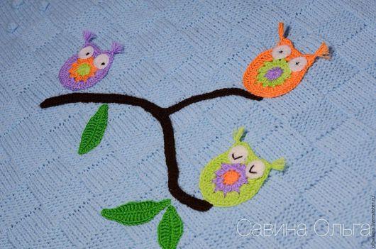 Пледы и одеяла ручной работы. Ярмарка Мастеров - ручная работа. Купить Детский вязаный плед. Handmade. Голубой, плед для девочки