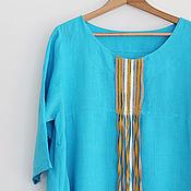Одежда handmade. Livemaster - original item Turquoise linen dress. Handmade.