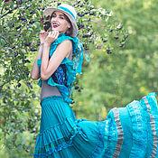 Одежда ручной работы. Ярмарка Мастеров - ручная работа Ярко-бирюзовая шелковая длинная,многоярус юбка и шарф в стиле бохо-шик. Handmade.