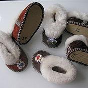 Работы для детей, handmade. Livemaster - original item Fur Slippers for the little ones. Handmade.
