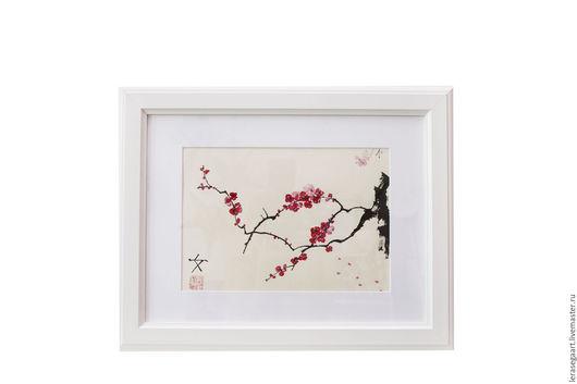 Пейзаж ручной работы. Ярмарка Мастеров - ручная работа. Купить Сакура. Handmade. Ярко-красный, китайская живопись, Живопись, тушь