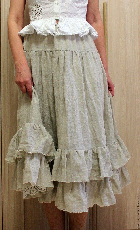 Волшебная юбка  из льняной марлевки, Юбки, Москва, Фото №1