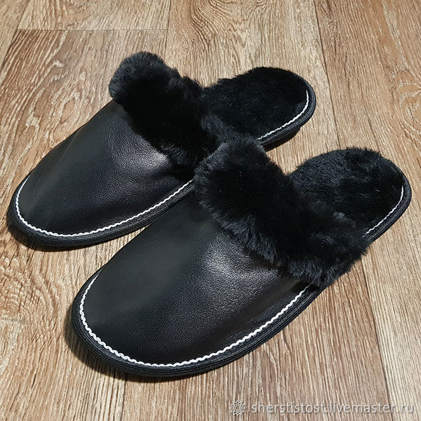 Men's slippers with leather upper, Slippers, Nalchik,  Фото №1