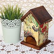 """Для дома и интерьера ручной работы. Ярмарка Мастеров - ручная работа Чайный домик """"Осенние ягоды"""", домик для чайных пакетиков. Handmade."""