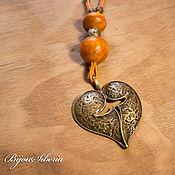 handmade. Livemaster - original item Pendant with beads handmade from wood