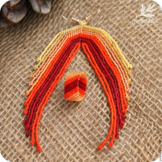Серьги ручной работы. Ярмарка Мастеров - ручная работа. Купить Комплект украшений из бисера серьги кольца Монохром Оранжевый. Handmade.