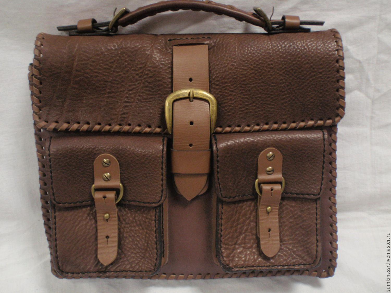 586d206c2740 Мужские сумки ручной работы. Ярмарка Мастеров - ручная работа. Купить  Кожаный портфель-сумка ...