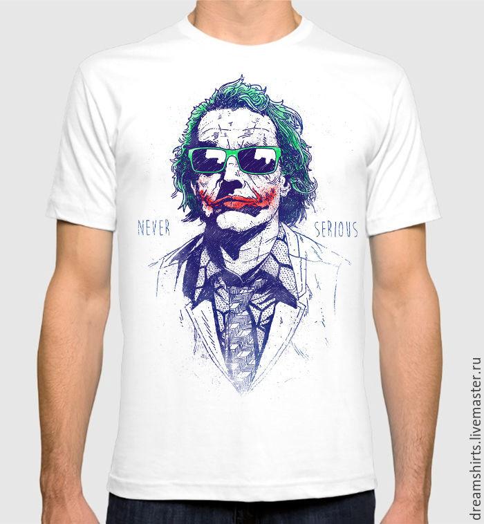 "Футболка с принтом ""Джокер - Never Serious"", T-shirts, Moscow,  Фото №1"