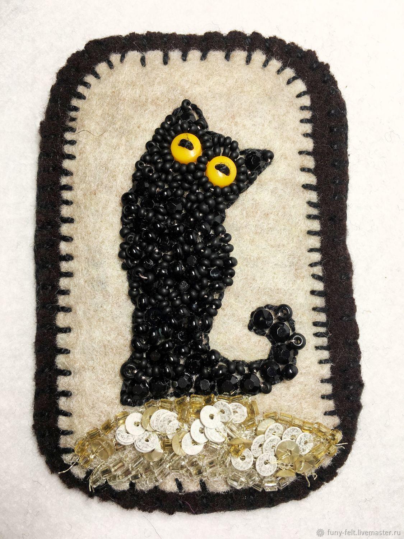 Броши: черный кот, Брошь-булавка, Тель-Авив,  Фото №1