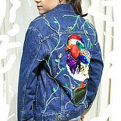 """Одежда ручной работы. Ярмарка Мастеров - ручная работа Джинсовая куртка """"Утка мандаринка"""". Handmade."""