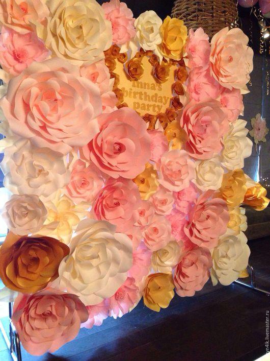 Праздничная атрибутика ручной работы. Ярмарка Мастеров - ручная работа. Купить Цветочный пресс-волл для девичего дня рождения (в аренду). Handmade.