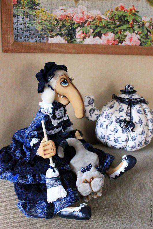 Коллекционные куклы ручной работы. Ярмарка Мастеров - ручная работа. Купить Баба Яга - смотрительница дома. Handmade. Тёмно-синий