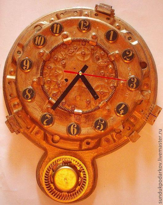 Часы для дома ручной работы. Ярмарка Мастеров - ручная работа. Купить Часы Кибер машина времени. Handmade. Золотой, кабинет