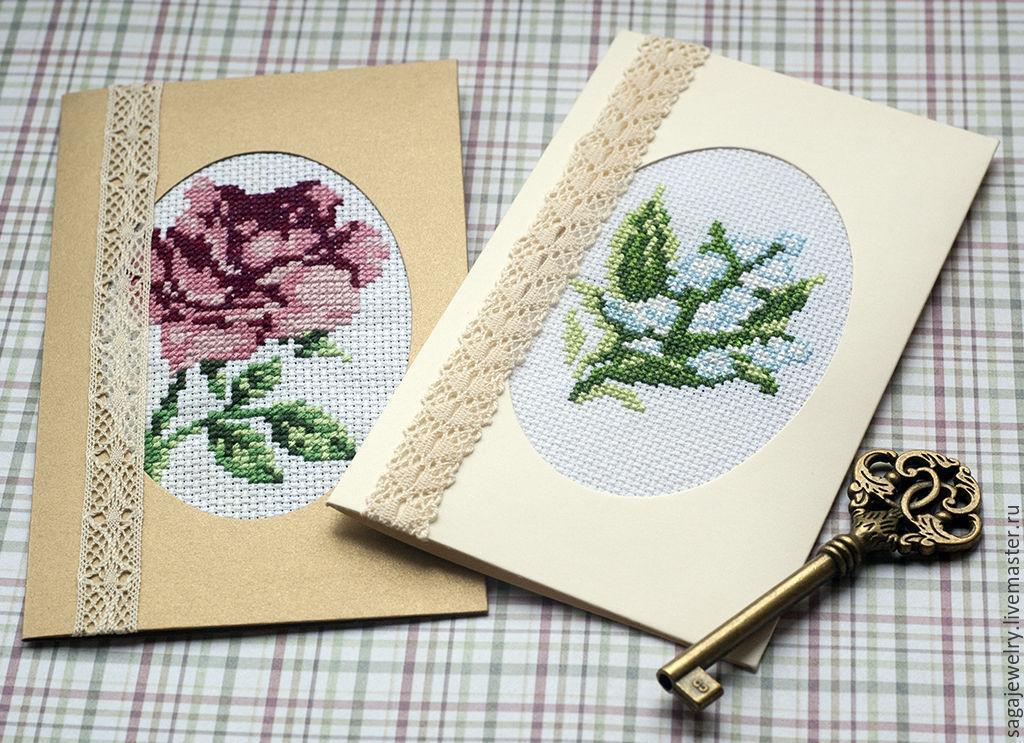 Добрым утром, вышивка открытки с 8 марта