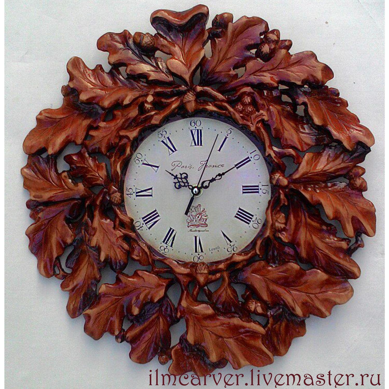 Carved wall clock of Autumn oak tree, Watch, Elista,  Фото №1
