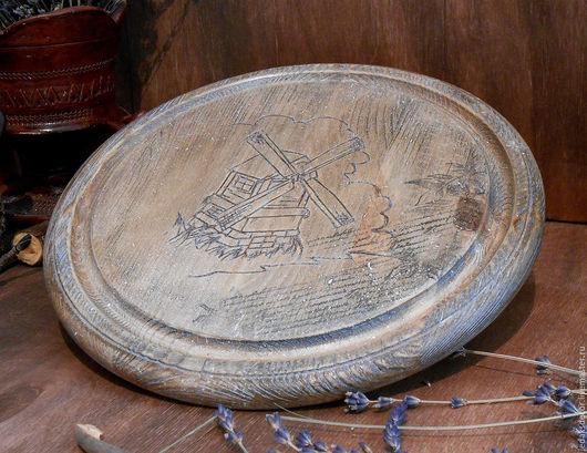 Старый деревянный поднос. Кухня в стиле кантри.Массив сосны.
