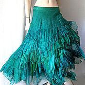 "Одежда manualidades. Livemaster - hecho a mano Wraparound skirt  boho style  ""Emerald"". Handmade."