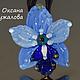 Кулон голубая орхидея ,  подвеска цветок, подарок подруге