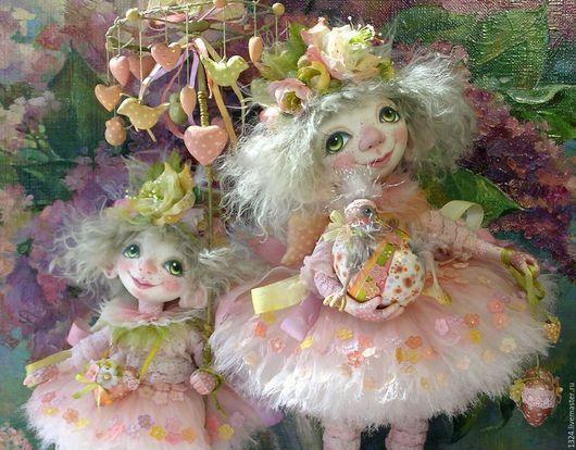 Коллекционные куклы ручной работы. Ярмарка Мастеров - ручная работа. Купить куклы Ангелы подсолнечные весенние из полимерной глины. Handmade.