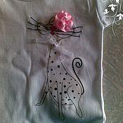 Работы для детей, ручной работы. Ярмарка Мастеров - ручная работа Детские футболки для юных кошатниц). Handmade.