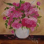 Картины и панно ручной работы. Ярмарка Мастеров - ручная работа Пионы в вазе. Handmade.