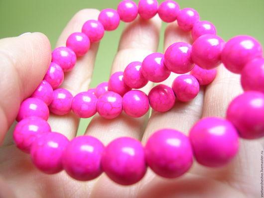 Для украшений ручной работы. Ярмарка Мастеров - ручная работа. Купить Бусина ярко-розовая из прессованного камня. Диаметр 8мм. Handmade.