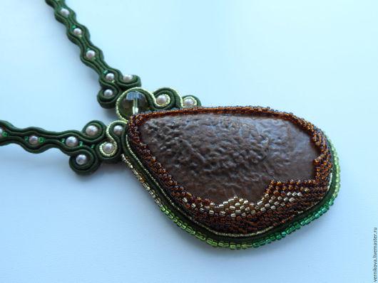 """Колье, бусы ручной работы. Ярмарка Мастеров - ручная работа. Купить Колье """"Сердце дракона"""" (сутаж). Handmade. Тёмно-зелёный"""